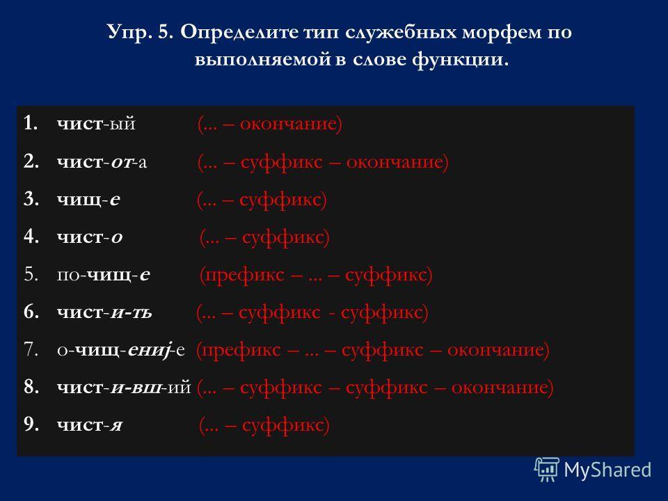 Упр. 5. Определите тип служебных морфем по выполняемой в слове функции. 1.чист-ый (... – окончание) 2.чист-от-а (... – суффикс – окончание) 3.чищ-е (... – суффикс) 4.чист-о (... – суффикс) 5.по-чищ-е (префикс –... – суффикс) 6.чист-и-ть (... – суффик