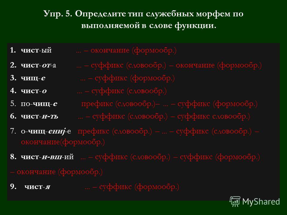 Упр. 5. Определите тип служебных морфем по выполняемой в слове функции. 1.чист-ый... – окончание (формообр.) 2.чист-от-а... – суффикс (словообр.) – окончание (формообр.) 3.чищ-е... – суффикс((формообр.) 4.чист-о... – суффикс (словообр.) 5.по-чищ-е пр