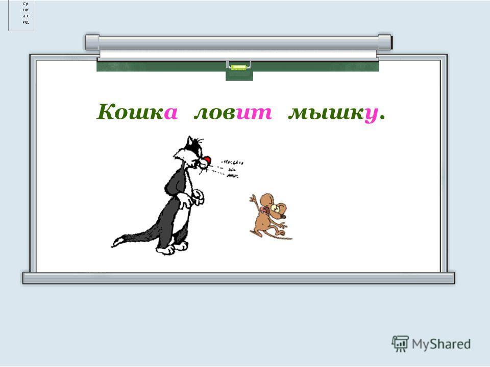 Кошка ловит мышку.
