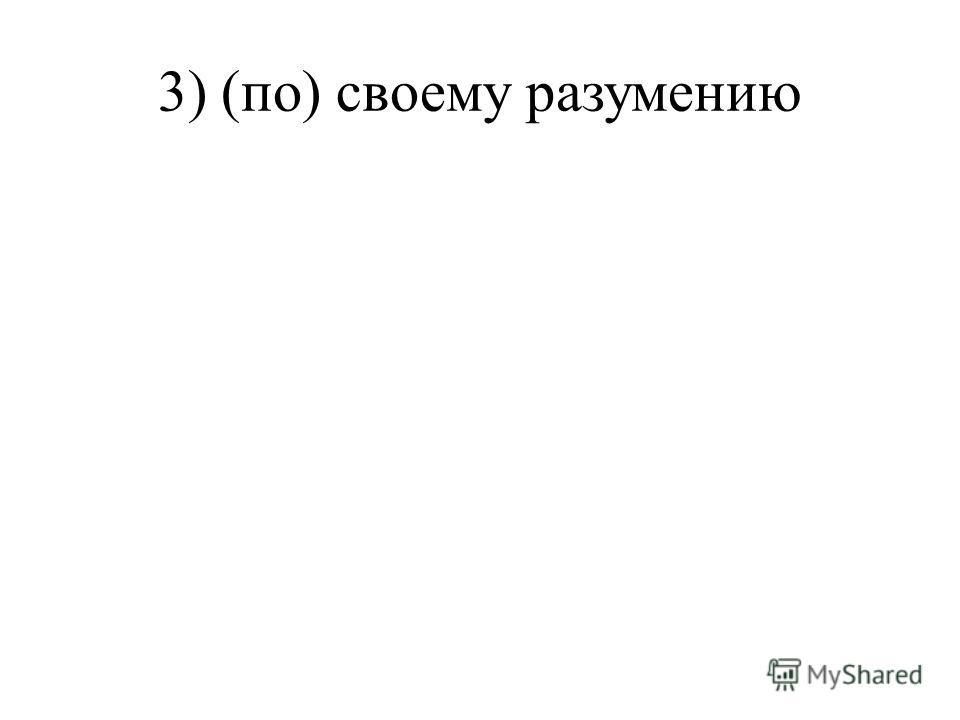 3) (по) своему разумению