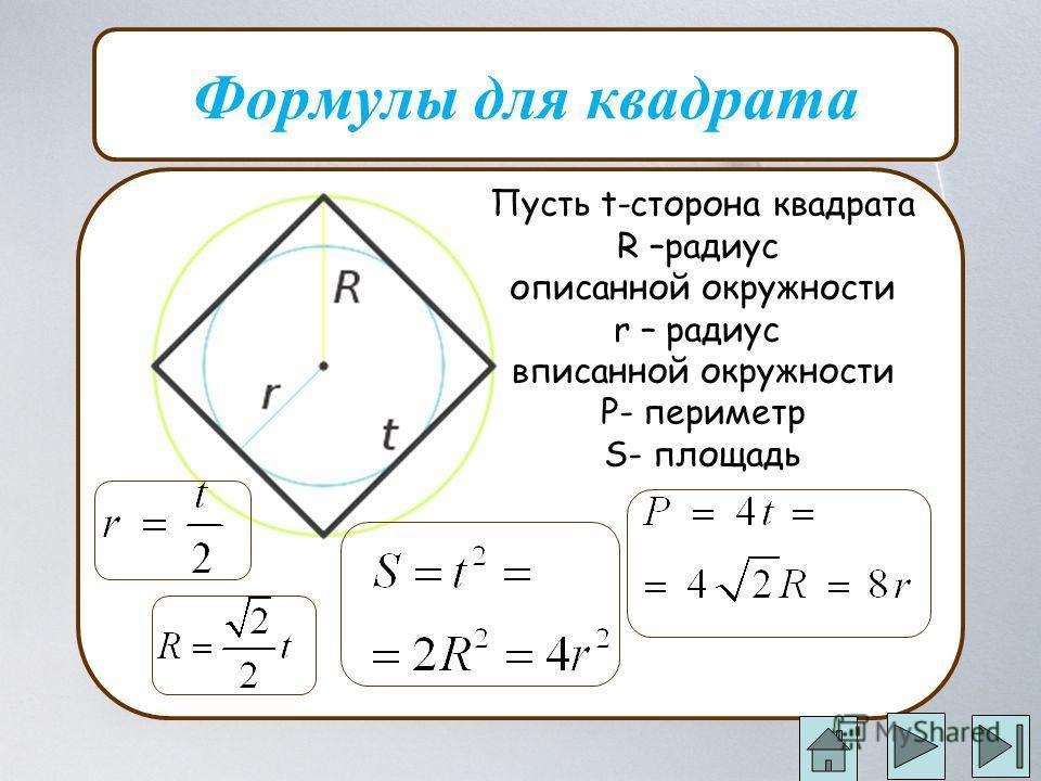 Формулы для квадрата Пусть t-сторона квадрата R –радиус описанной окружности r – радиус вписанной окружности P- периметр S- площадь