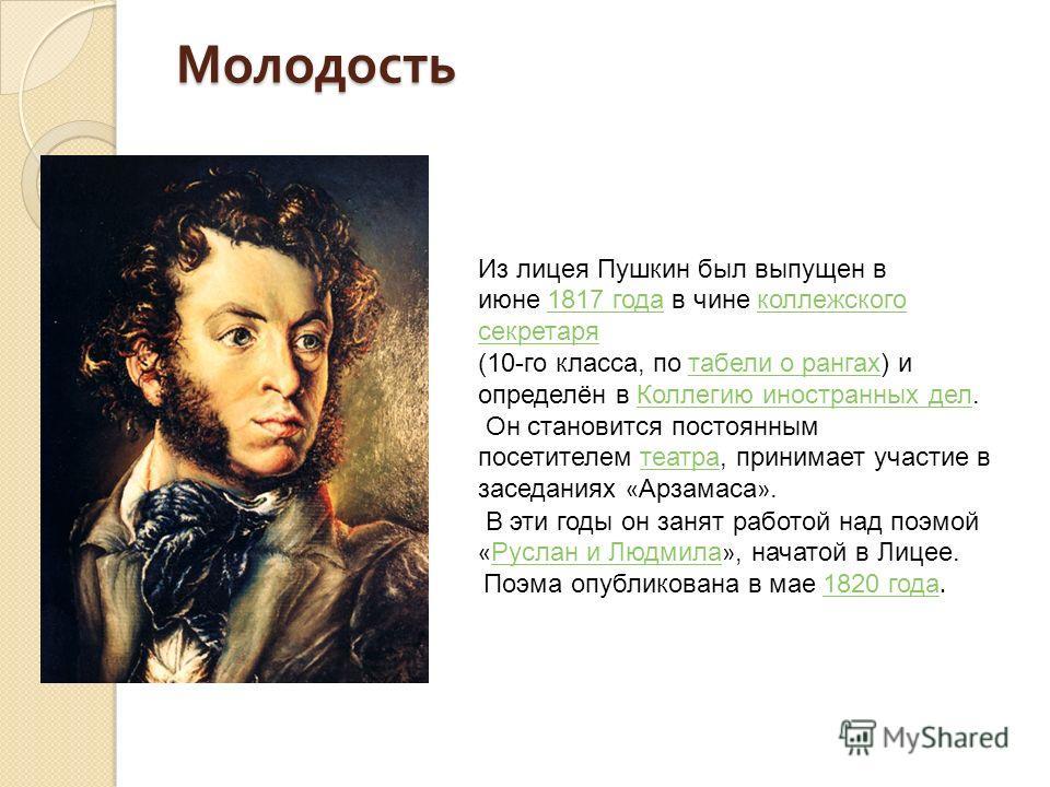 Молодость Молодость Из лицея Пушкин был выпущен в июне 1817 года в чине коллежского секретаря 1817 года коллежского секретаря (10-го класса, по табели о рангах) и определён в Коллегию иностранных дел. табели о рангах Коллегию иностранных дел Он стано