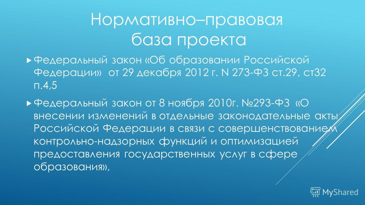 Федеральный закон «Об образовании Российской Федерации» от 29 декабря 2012 г. N 273-ФЗ ст.29, ст 32 п.4,5 Федеральный закон от 8 ноября 2010 г. 293-ФЗ «О внесении изменений в отдельные законодательные акты Российской Федерации в связи с совершенствов