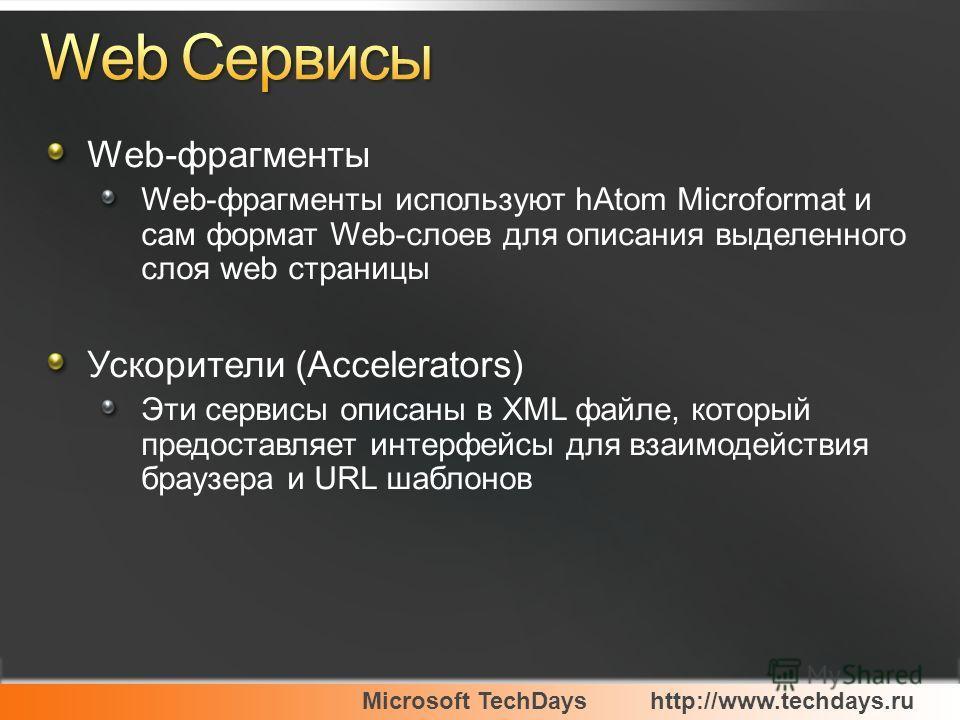 Web-фрагменты Web-фрагменты используют hAtom Microformat и сам формат Web-слоев для описания выделенного слоя web страницы Ускорители (Accelerators) Эти сервисы описаны в XML файле, который предоставляет интерфейсы для взаимодействия браузера и URL ш