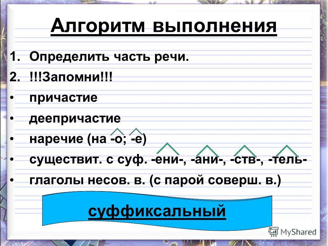 Алгоритм выполнения 1. Определить часть речи. 2.!!!Запомни!!! причастие деепричастие наречие (на -о; -е) существит. с суф. -ени-, -ани-, -ств-, -тель- глаголы несов. в. (с парой соверш. в.) суффиксальный