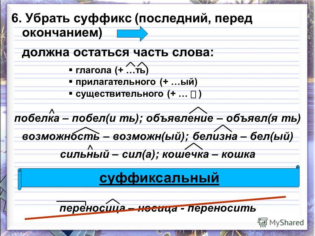 6. Убрать суффикс (последний, перед окончанием) должна остаться часть слова: глагола (+ …ть) прилагательного (+ …ый) существительного (+ … ) побелка – побел(и ть); объявление – объявл(я ть) возможность – возможн(ый); белизна – бел(ый) сильный – сил(а