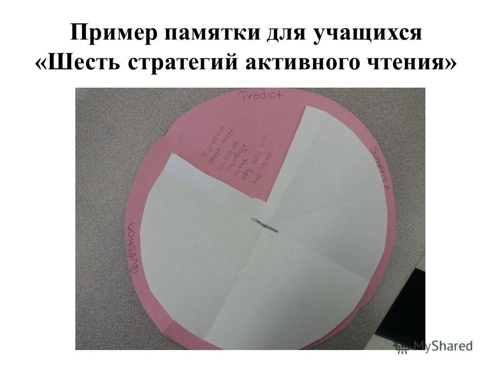 Пример памятки для учащихся «Шесть стратегий активного чтения»