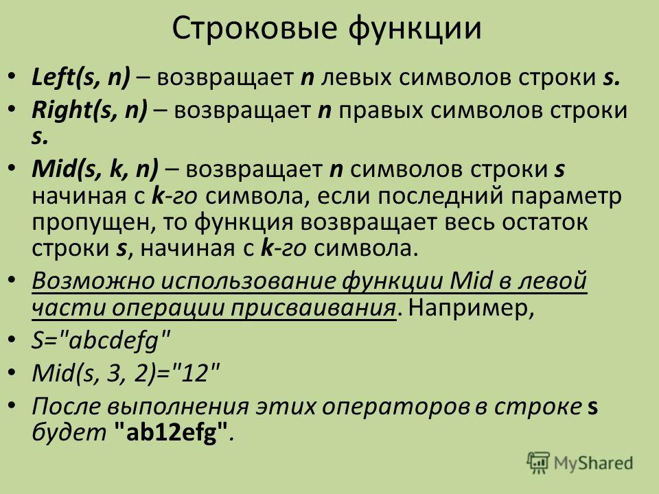 Строковые функции Left(s, n) – возвращает n левых символов строки s. Right(s, n) – возвращает n правых символов строки s. Mid(s, k, n) – возвращает n символов строки s начиная с k-го символа, если последний параметр пропущен, то функция возвращает ве
