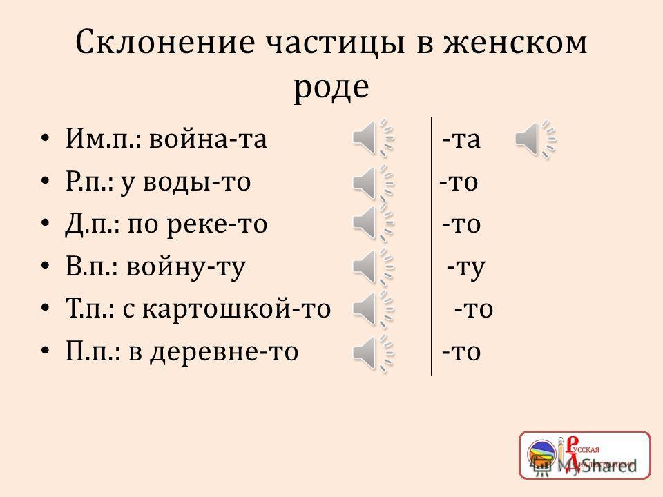 Постпозитивные частицы и род Мужской: мужик-от Женский: ляпушка-та Средний: мясо-то
