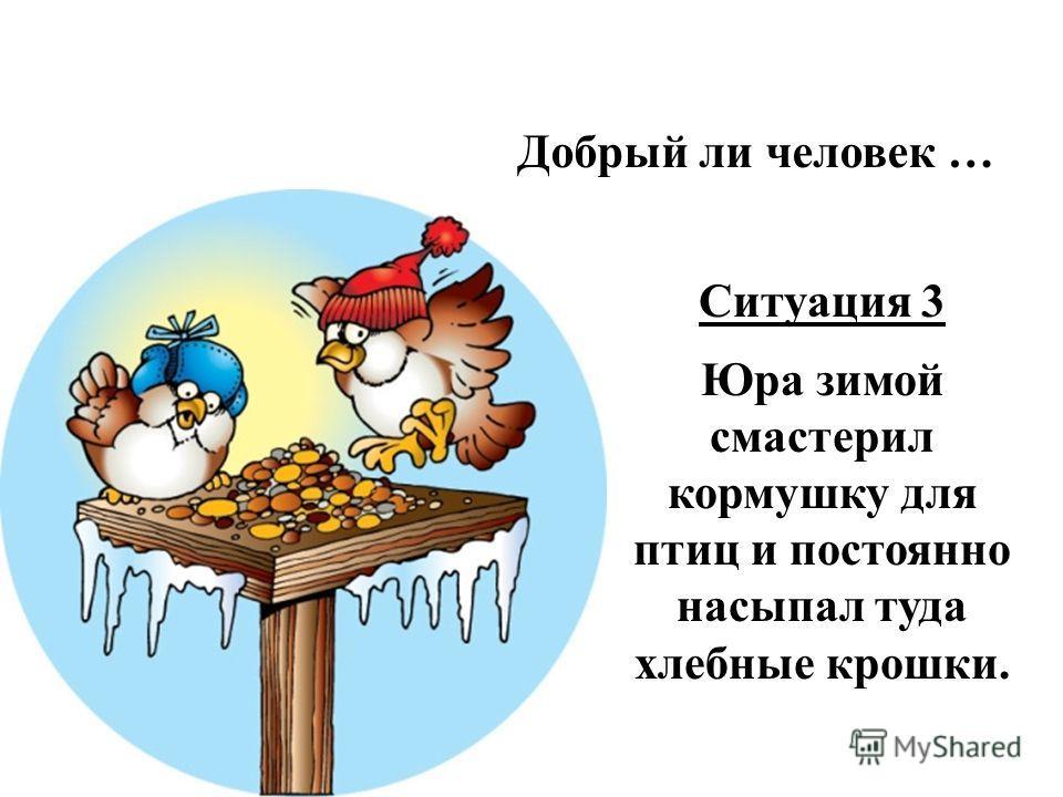 Добрый ли человек … Ситуация 3 Юра зимой смастерил кормушку для птиц и постоянно насыпал туда хлебные крошки.