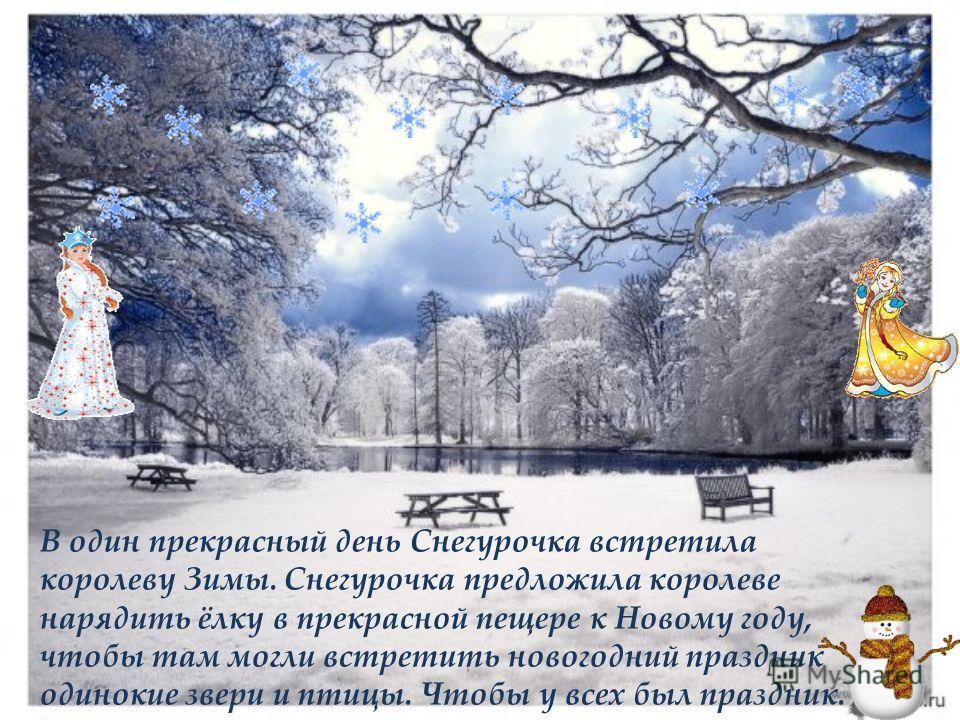 В один прекрасный день Снегурочка встретила королеву Зимы. Снегурочка предложила королеве нарядить ёлку в прекрасной пещере к Новому году, чтобы там могли встретить новогодний праздник одинокие звери и птицы. Чтобы у всех был праздник.