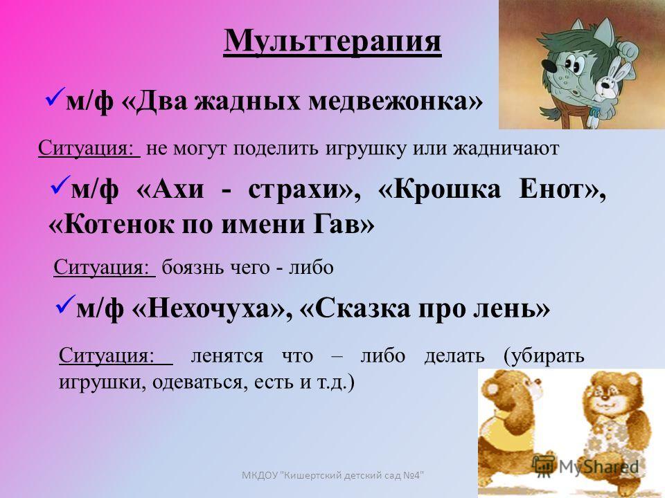 Мульттерапия м/ф «Два жадных медвежонка» Ситуация: не могут поделить игрушку или жадничают м/ф «Ахи - страхи», «Крошка Енот», «Котенок по имени Гав» Ситуация: боязнь чего - либо м/ф «Нехочуха», «Сказка про лень» Ситуация: ленятся что – либо делать (у