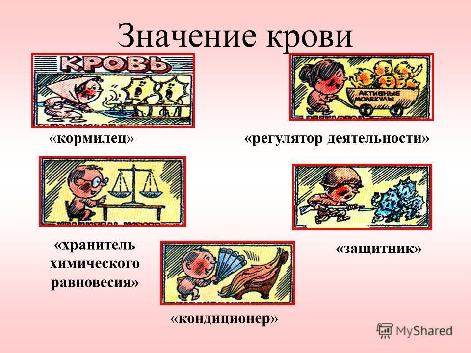 Значение крови «кормилец»«регулятор деятельности» «защитник» «кондиционер» «хранитель химического равновесия»