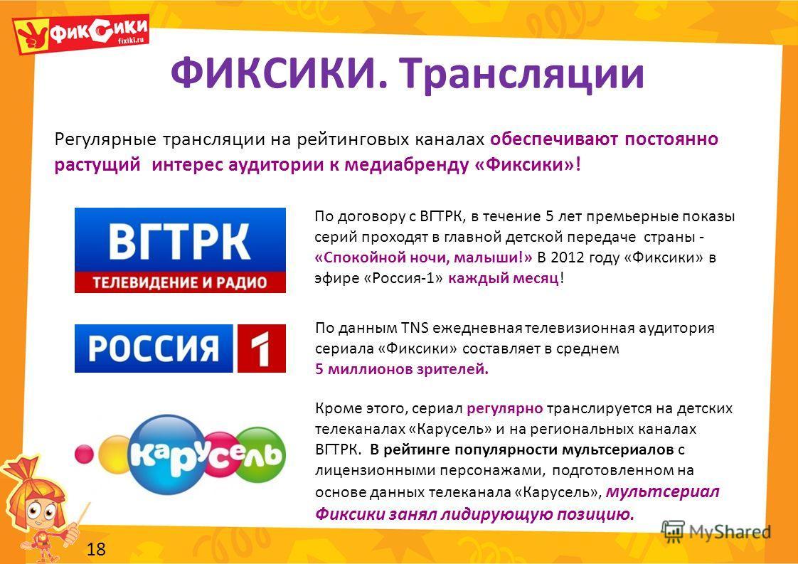 ФИКСИКИ. Трансляции 18 По договору с ВГТРК, в течение 5 лет премьерные показы серий проходят в главной детской передаче страны - «Спокойной ночи, малыши!» В 2012 году «Фиксики» в эфире «Россия-1» каждый месяц! Кроме этого, сериал регулярно транслируе