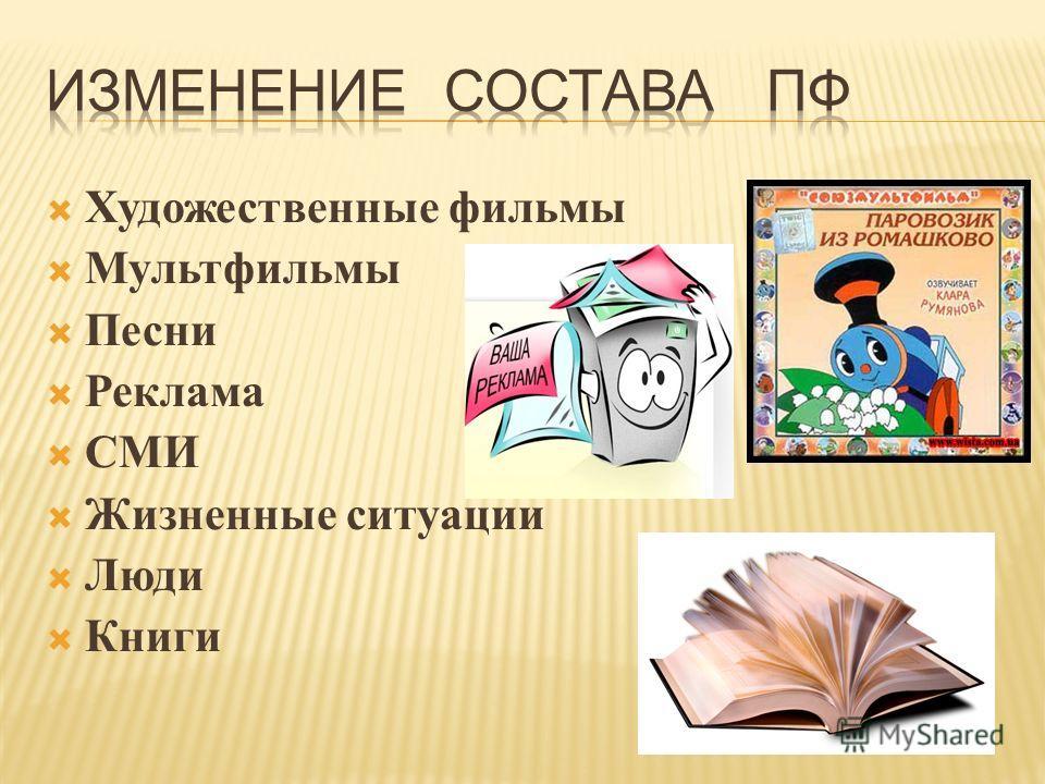 Художественные фильмы Мультфильмы Песни Реклама СМИ Жизненные ситуации Люди Книги