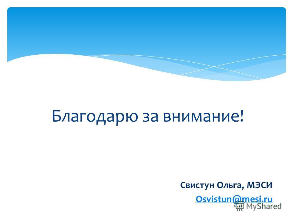 Благодарю за внимание! Свистун Ольга, МЭСИ Osvistun@mesi.ru