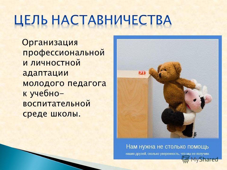Организация профессиональной и личностной адаптации молодого педагога к учебно- воспитательной среде школы.