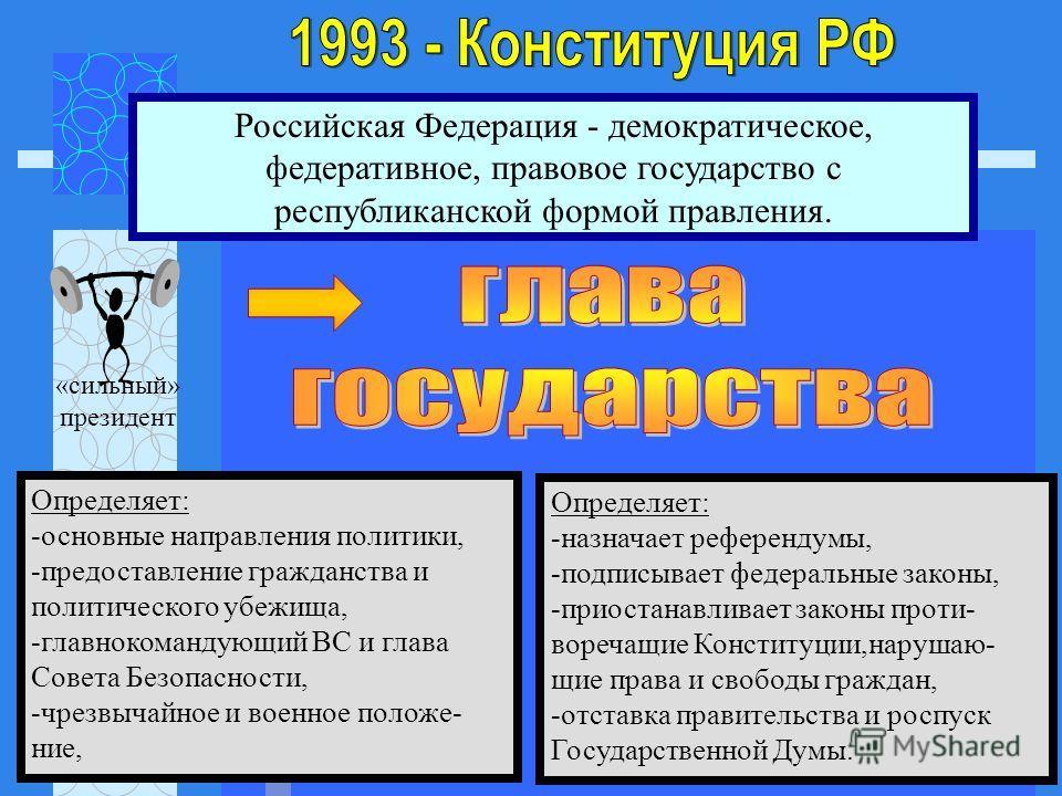 Российская Федерация - демократическое, федеративное, правовое государство с республиканской формой правления. «сильный» президент Определяет: -основные направления политики, -предоставление гражданства и политического убежища, -главнокомандующий ВС