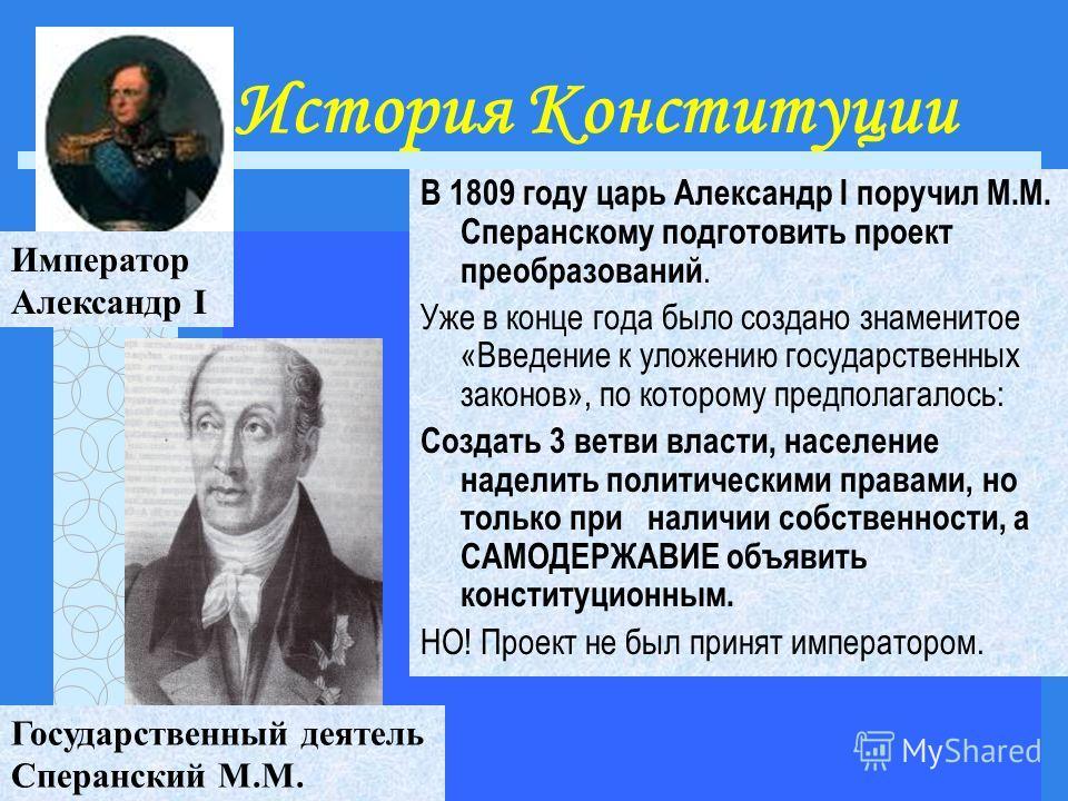 История Конституции В 1809 году царь Александр I поручил М.М. Сперанскому подготовить проект преобразований. Уже в конце года было создано знаменитое «Введение к уложению государственных законов», по которому предполагалось: Создать 3 ветви власти, н