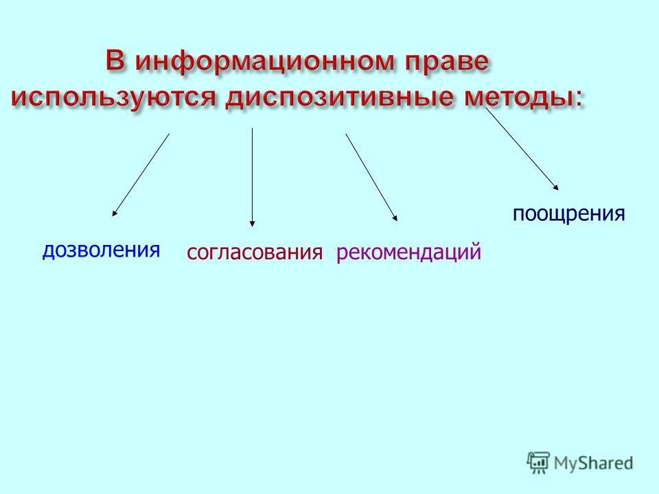 В информационном праве используются диспозитивные методы : дозволения согласования рекомендаций поощрения