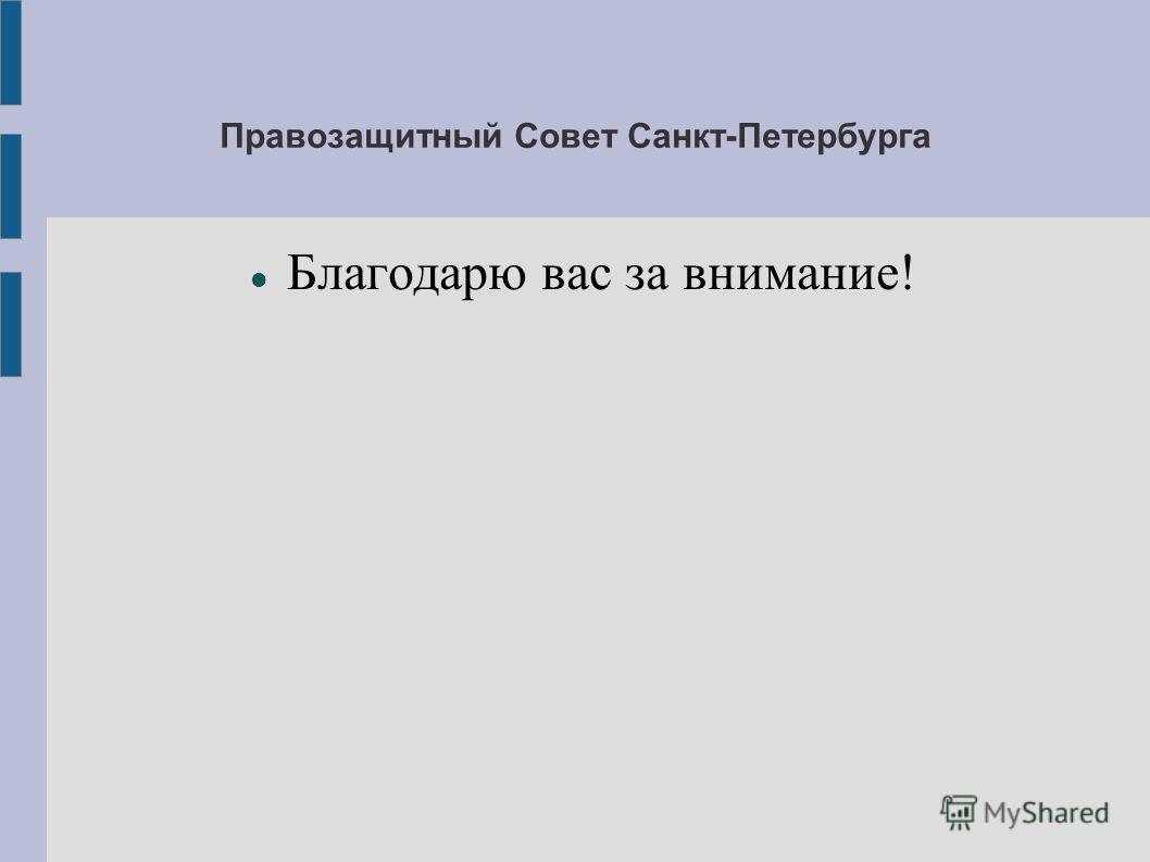 Правозащитный Совет Санкт-Петербурга Благодарю вас за внимание!