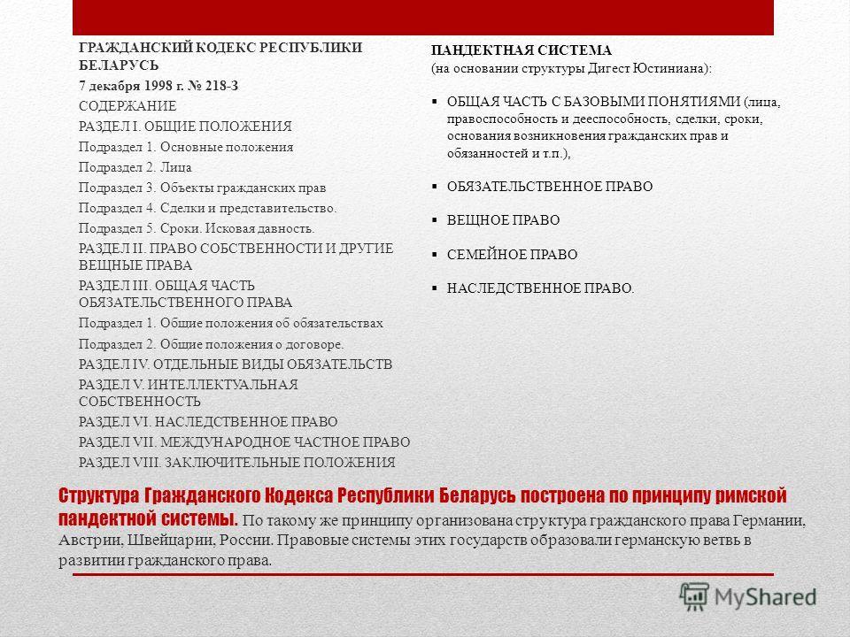 Структура Гражданского Кодекса Республики Беларусь построена по принципу римской пандектной системы. По такому же принципу организована структура гражданского права Германии, Австрии, Швейцарии, России. Правовые системы этих государств образовали гер
