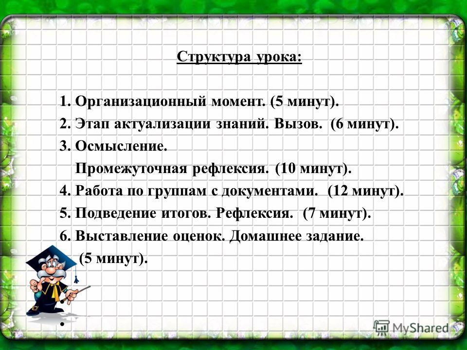Структура урока: 1. Организационный момент. (5 минут). 2. Этап актуализации знаний. Вызов. (6 минут). 3. Осмысление. Промежуточная рефлексия. (10 минут). 4. Работа по группам с документами. (12 минут). 5. Подведение итогов. Рефлексия. (7 минут). 6. В