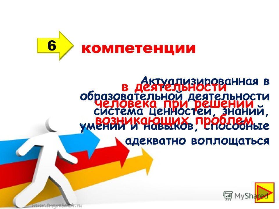 компетенции 6 Актуализированная в образовательной деятельности система ценностей, знаний, умений и навыков, способные адекватно воплощаться в деятельности человека при решении возникающих проблем