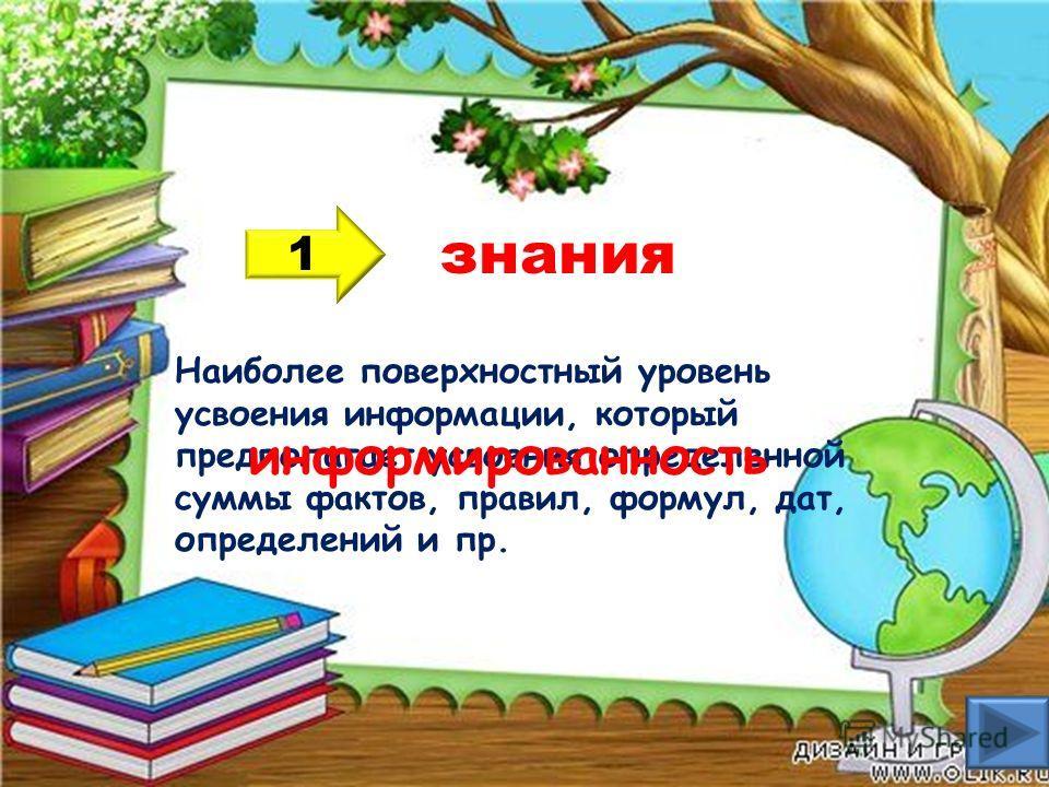 знания 1 Наиболее поверхностный уровень усвоения информации, который предполагает усвоения определенной суммы фактов, правил, формул, дат, определений и пр. информированность