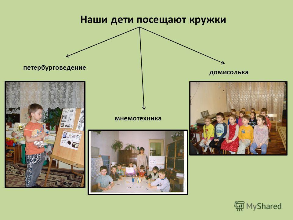 Наши дети посещают кружки мнемотехника петербурговедение домисолька