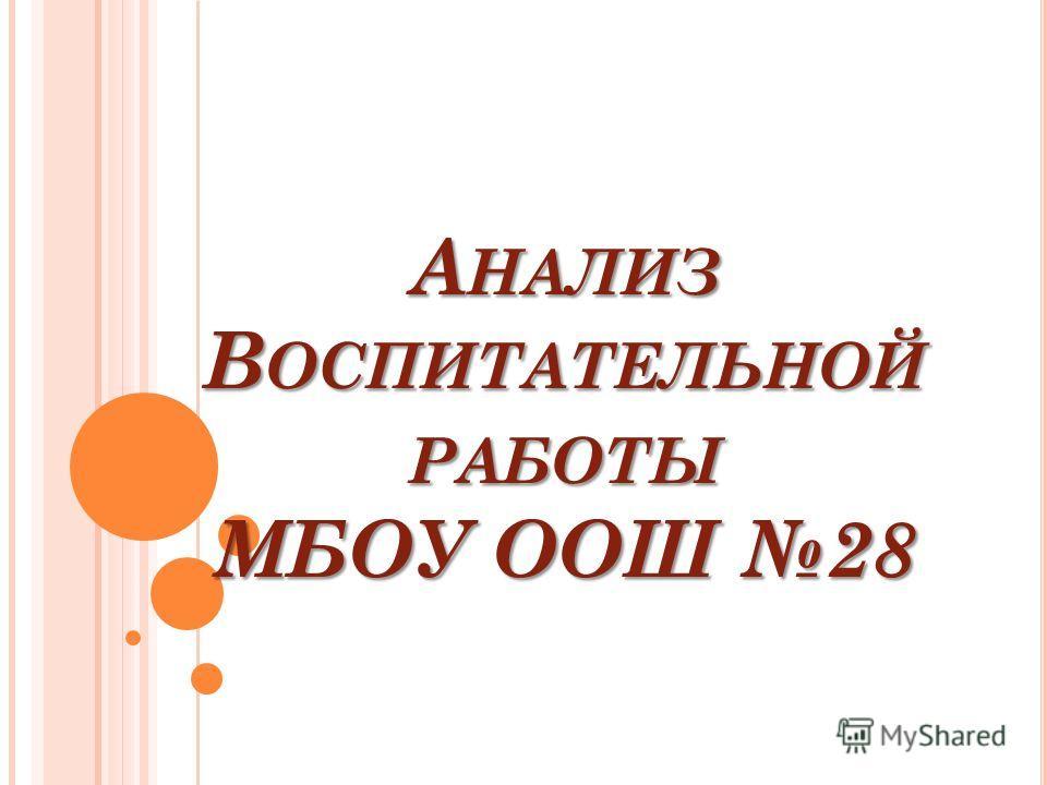 А НАЛИЗ В ОСПИТАТЕЛЬНОЙ РАБОТЫ МБОУ ООШ 28