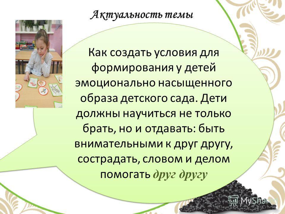 Актуальность темы Как создать условия для формирования у детей эмоционально насыщенного образа детского сада. Дети должны научиться не только брать, но и отдавать: быть внимательными к друг другу, сострадать, словом и делом помогать друг другу