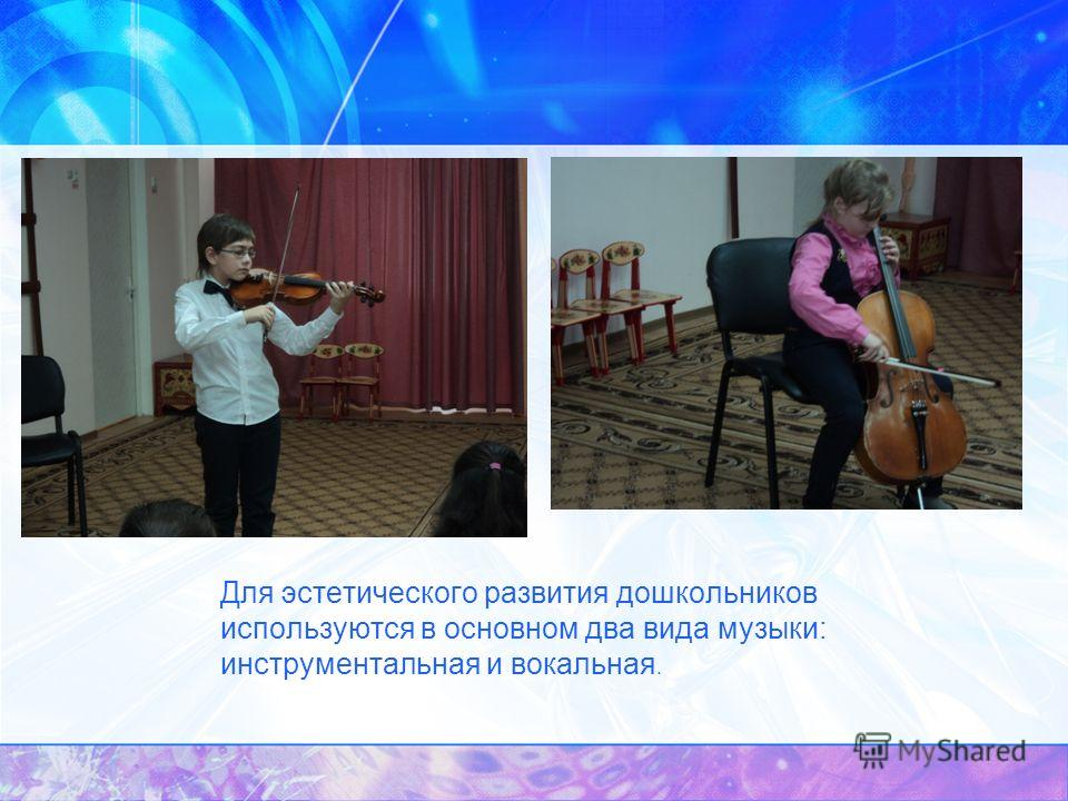 Для эстетического развития дошкольников используются в основном два вида музыки: инструментальная и вокальная.