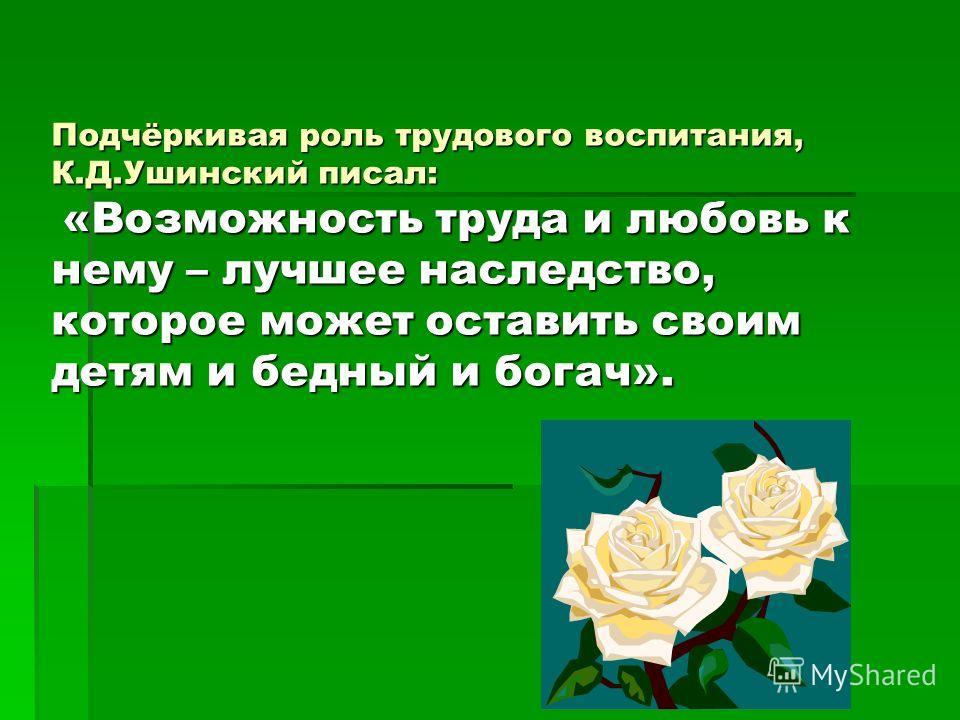 Подчёркивая роль трудового воспитания, К.Д.Ушинский писал: «Возможность труда и любовь к нему – лучшее наследство, которое может оставить своим детям и бедный и богач».