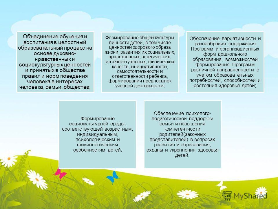 Объединение обучения и воспитания в целостный образовательный процесс на основе духовно- нравственных и социокультурных ценностей и принятых в обществе правил и норм поведения человека в интересах человека, семьи, общества; Формирование общей культур