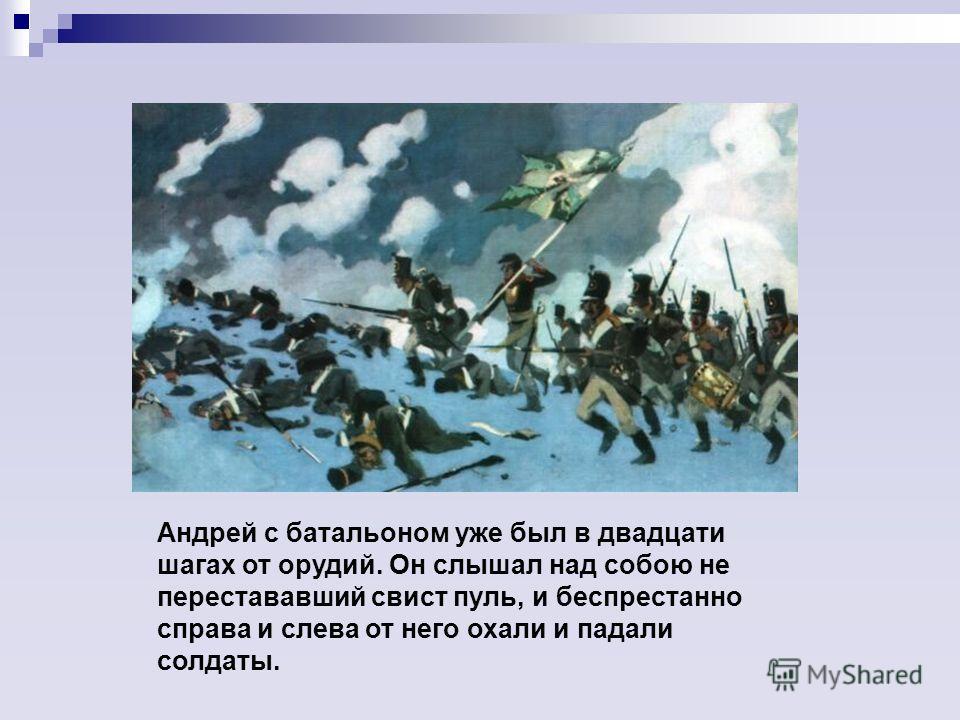 Андрей с батальоном уже был в двадцати шагах от орудий. Он слышал над собою не перестававший свист пуль, и беспрестанно справа и слева от него охали и падали солдаты.