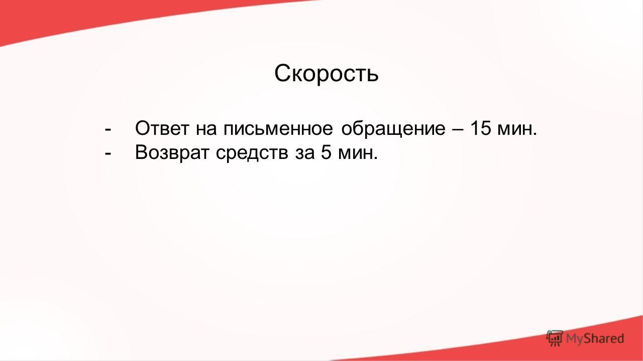 Скорость -Ответ на письменное обращение – 15 мин. -Возврат средств за 5 мин.