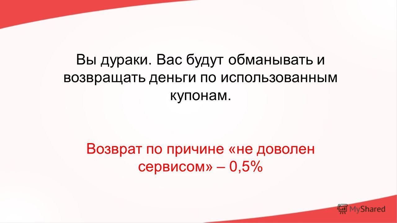 Вы дураки. Вас будут обманывать и возвращать деньги по использованным купонам. Возврат по причине «не доволен сервисом» – 0,5%