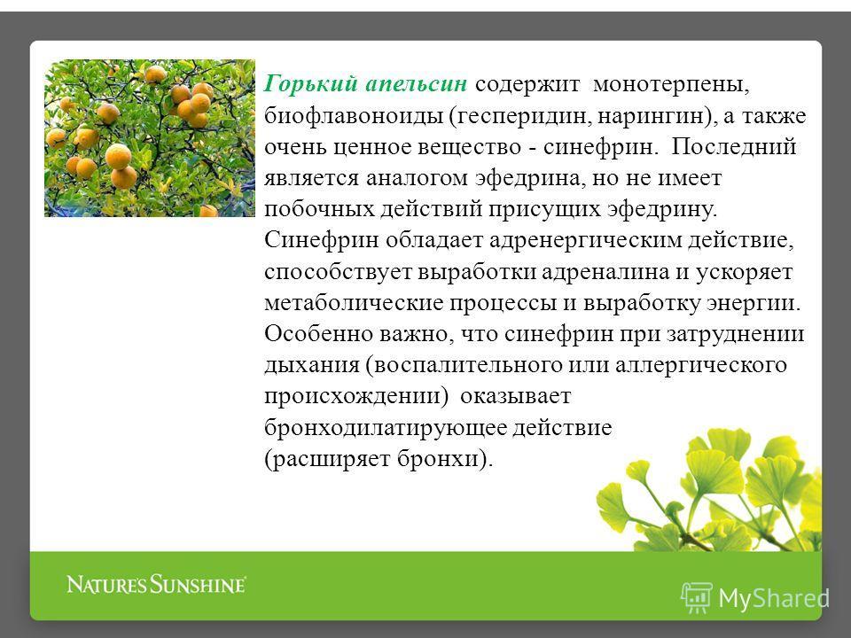 Горький апельсин содержит монотерпены, биофлавоноиды (гесперидин, нарингин), а также очень ценное вещество - синефрин. Последний является аналогом эфедрина, но не имеет побочных действий присущих эфедрину. Синефрин обладает адренергическим действие,