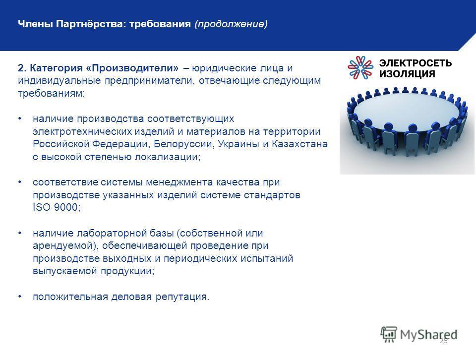25 Члены Партнёрства: требования (продолжение) 2. Категория «Производители» – юридические лица и индивидуальные предприниматели, отвечающие следующим требованиям: наличие производства соответствующих электротехнических изделий и материалов на террито