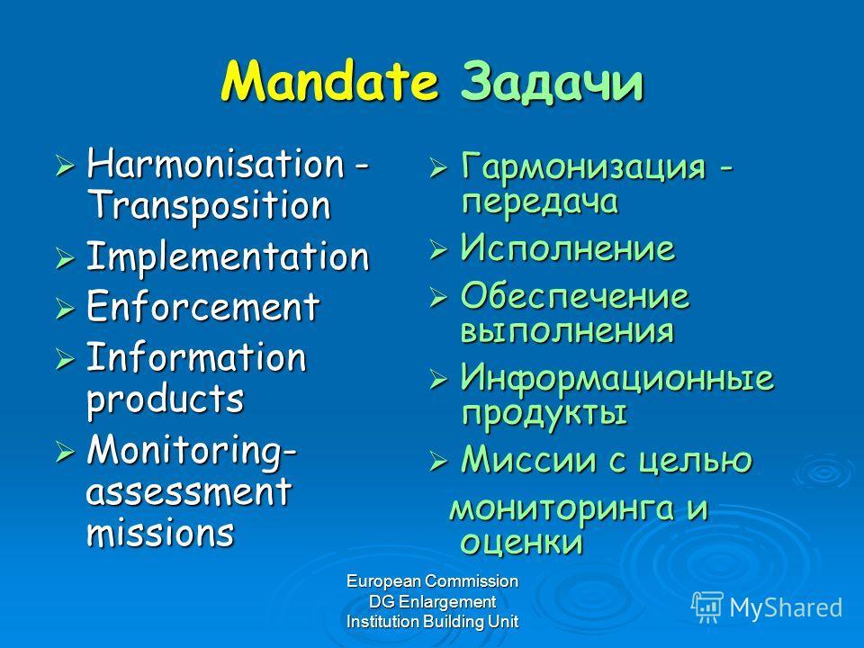 European Commission DG Enlargement Institution Building Unit Mandate Задачи Harmonisation - Transposition Harmonisation - Transposition Implementation Implementation Enforcement Enforcement Information products Information products Monitoring- assess