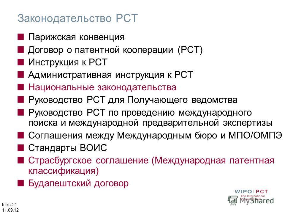 Intro-21 11.09.12 Законодательство PCT Парижская конвенция Договор о патентной кооперации (РСТ) Инструкция к РСТ Административная инструкция к РСТ Национальные законодательства Руководство РСТ для Получающего ведомства Руководство РСТ по проведению м