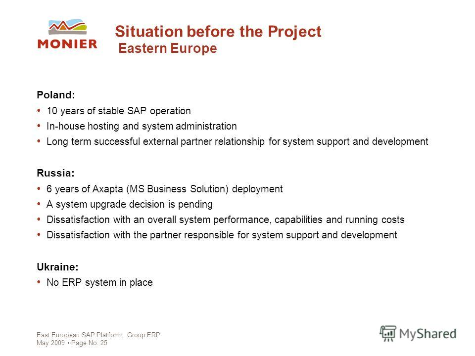 East European SAP Platform, Group ERP May 2009 Page No. 25 Situation before the Project Eastern Europe Poland: 10 years of stable SAP operation In-house hosting and system administration Long term successful external partner relationship for system s