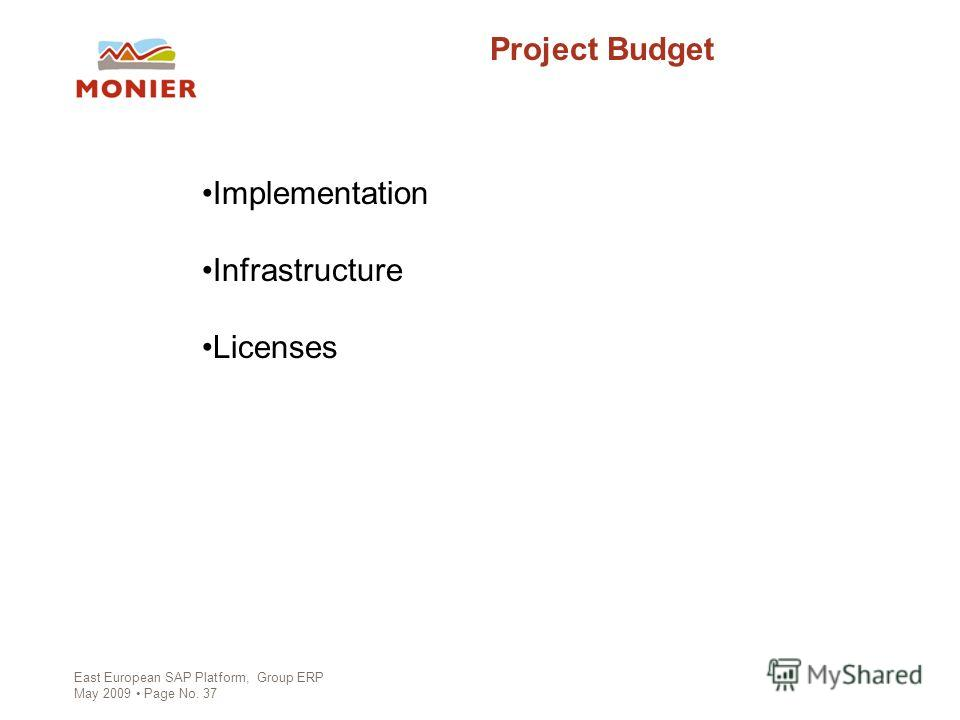 East European SAP Platform, Group ERP May 2009 Page No. 37 Project Budget Implementation Infrastructure Licenses