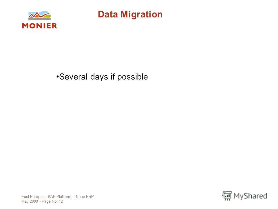 East European SAP Platform, Group ERP May 2009 Page No. 42 Data Migration Several days if possible