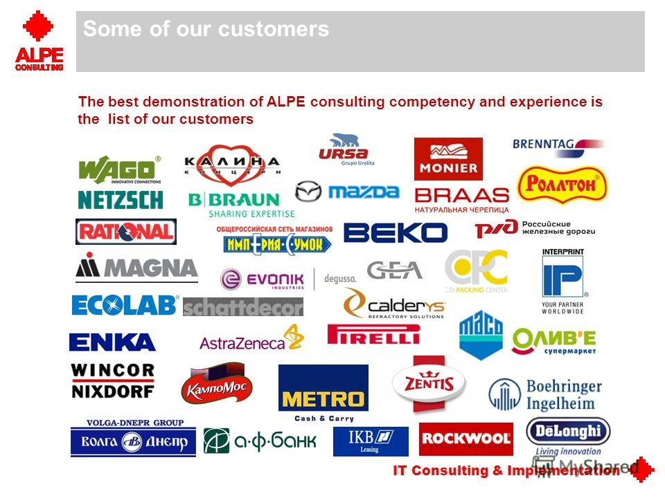 IT Consulting & Implementation Some of our customers The best demonstration of ALPE consulting competency and experience is the list of our customers