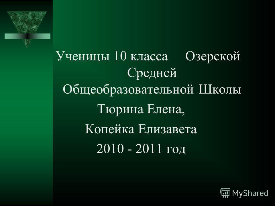 Ученицы 10 класса Озерской Средней Общеобразовательной Школы Тюрина Елена, Копейка Елизавета 2010 - 2011 год