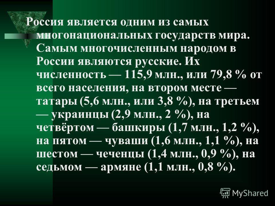 Россия является одним из самых многонациональных государств мира. Самым многочисленным народом в России являются русские. Их численность 115,9 млн., или 79,8 % от всего населения, на втором месте татары (5,6 млн., или 3,8 %), на третьем украинцы (2,9
