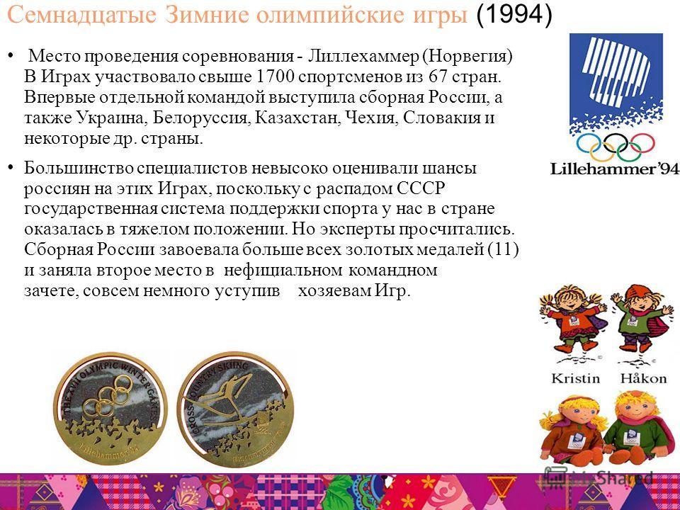 Семнадцатые Зимние олимпийские игры (1994) Место проведения соревнования - Лиллехаммер (Норвегия) В Играх участвовало свыше 1700 спортсменов из 67 стран. Впервые отдельной командой выступила сборная России, а также Украина, Белоруссия, Казахстан, Чех