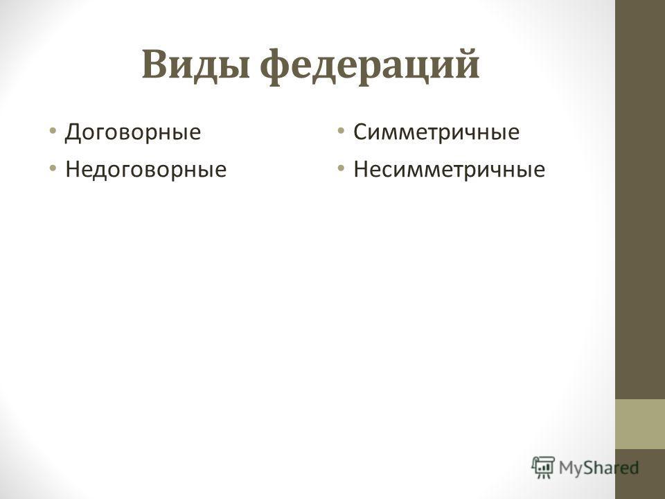 Виды федераций Договорные Недоговорные Симметричные Несимметричные